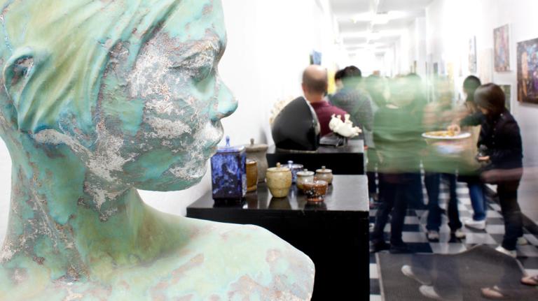 Ceramics work on display at open studio