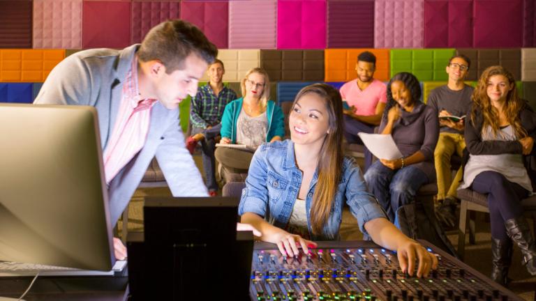 Sound design students collaborating in Digital Media Center studio
