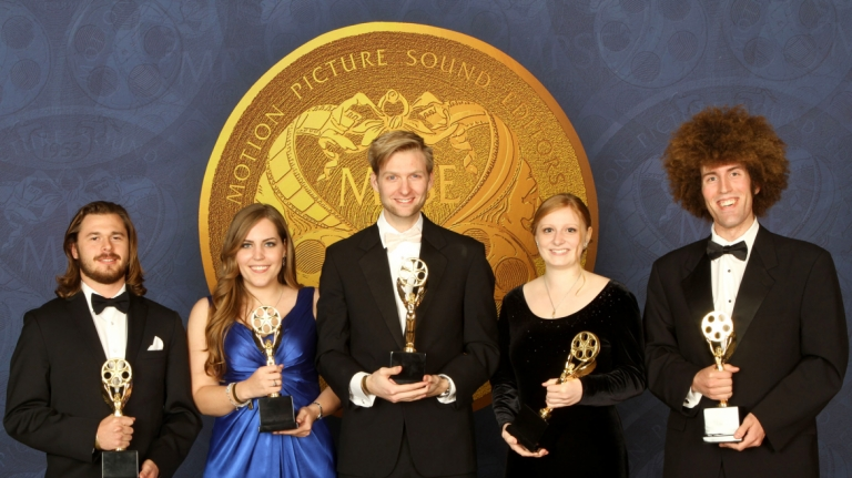 SCAD students receiving Verna Fields Award at 62nd Motion Picture Sound Editors Golden Reel event