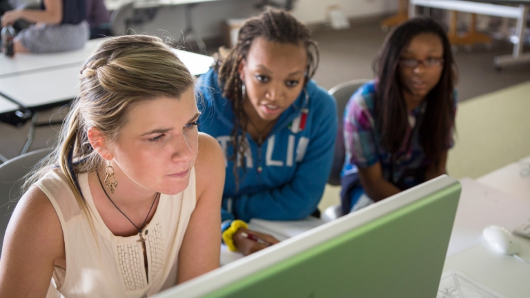 Summer Seminars students collaborating at computer