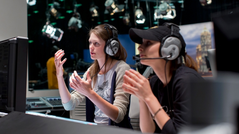 Television producing students working in control room of SCAD Atlanta Digital Media Center