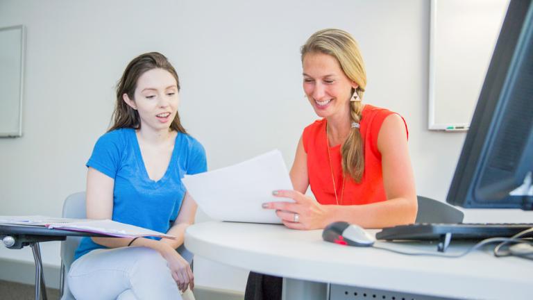 Professor Andrea Goto advises a SCAD student