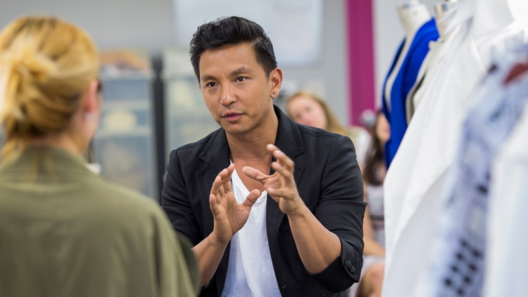 Fashion designer Prabal Gurung critiquing student work