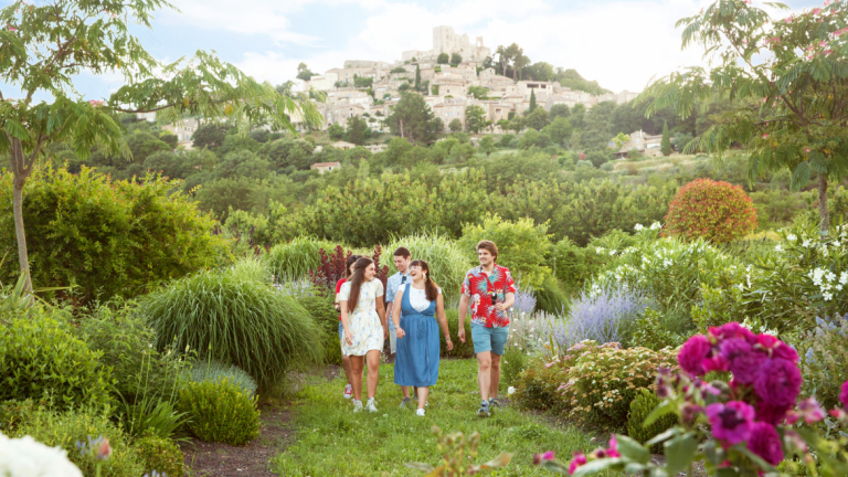 Students walk in the beautiful gardens at SCAD's Lacoste location