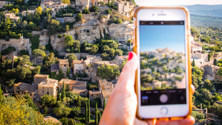 SCAD student takes a picture of scenic Lacoste, France