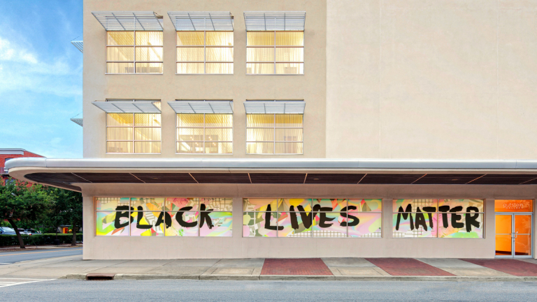 Black Lives Matter window display at Jen Library in Savannah