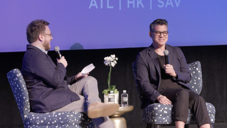 Moderator and Peter Som in conversation at SCADstyle 2019