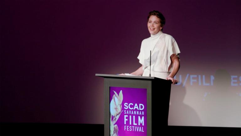 Play video of Maggie Gyllenhaal at SCAD Savannah Film Festival