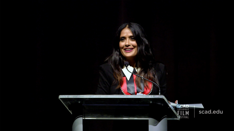 Play video of SCAD Savannah Film Festival honoree Salma Hayek Pinault