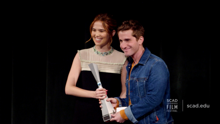 Play video of SCAD Savannah Film Festival honoree Zoey Deutch receiving award