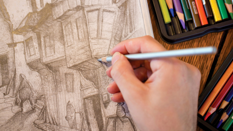 Illustration closeup with hand sketching with pencil