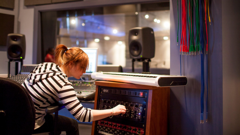 Sound design student working in Hamilton Hall studio