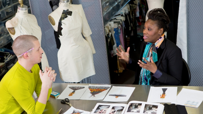 Fashion designer Mimi Plange mentoring student