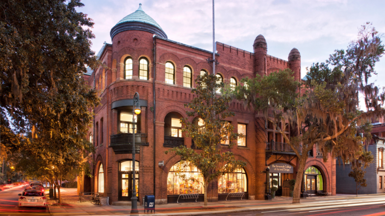 Poetter Hall exterior at dusk in SCAD Savannah