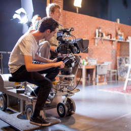 SCAD student filmmakers shooting on set