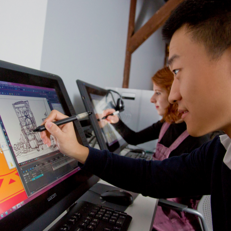 SCAD animation student working in computer lab