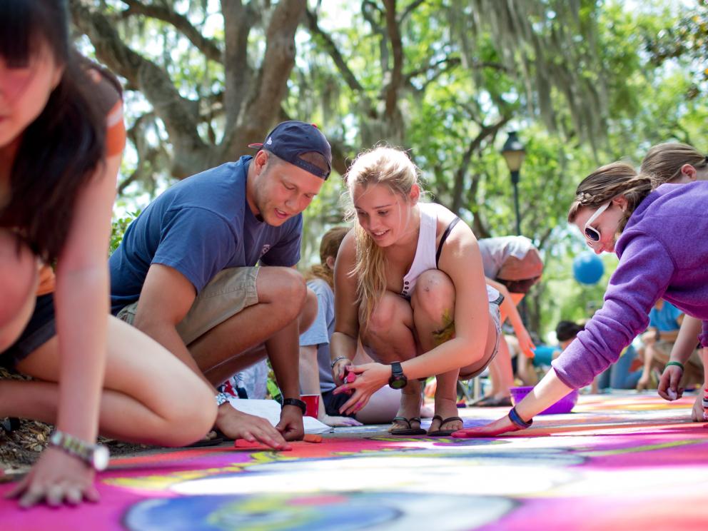 Sidewalk arts festival participants