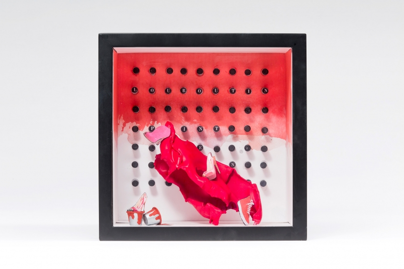 Fashion management and marketing student work, Christian Louboutin diorama by Jessica Kunkel