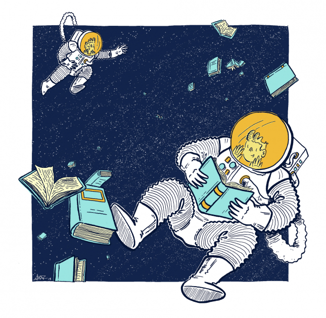 Illustration, Adam Del Re, Fall 2013, Gravity Of Education