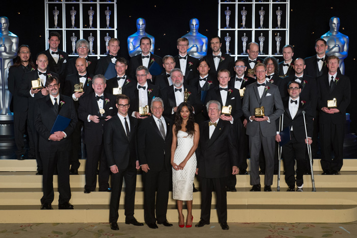 Winners of Academy of Motion Picture Arts and Sciences' Scientific and Technical Achievement Awards gather for a photo