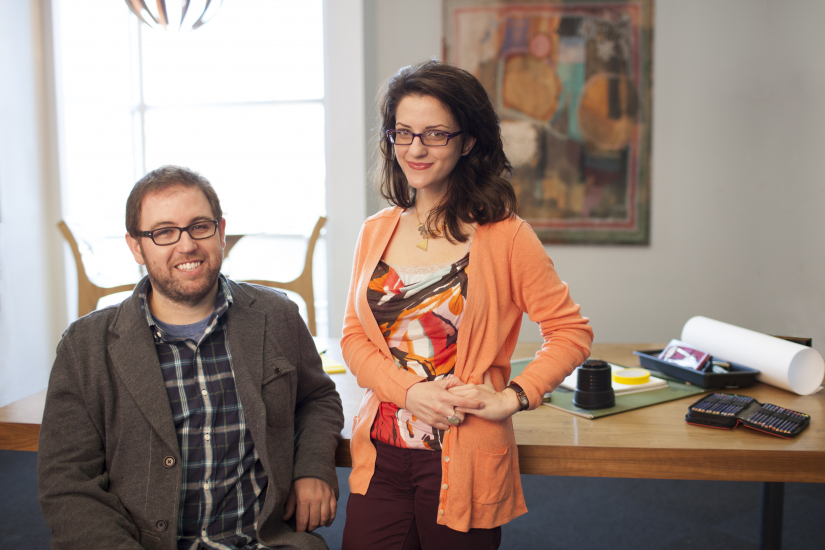 Graduate students Elisabeth Papadopoulos (production design) and Nathan Hollrith (industrial design)