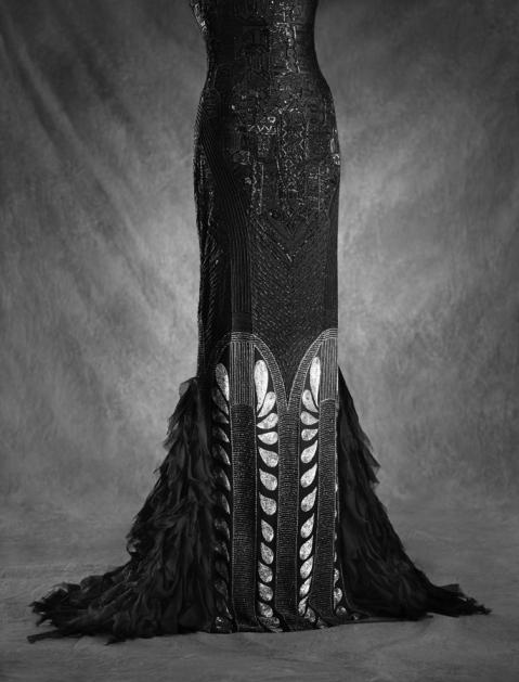 Ralph Lauren Collection, Fall 2011, black silk, embroidered art deco evening dress (Chrysler bldg).