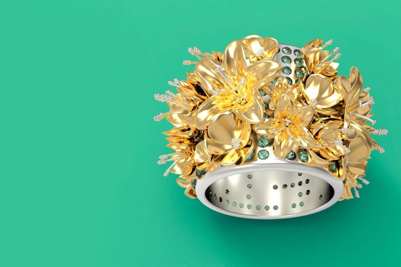A gold flower ring by SCAD student artist Jillian Michael