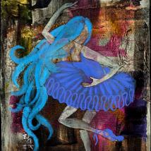 Mixed media painting of a woman dancing in a blue tutu with pink hair