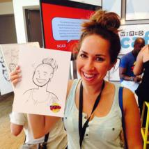 Jarrett Williams created caricatures of guests at SCAD's booth at WIRED Café's Comic-Con event