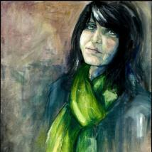 Oil on canvas painting of a woman in a green scarf