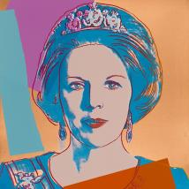 """Andy Warhol, """"Reigning Queens (Royal Edition): Queen Beatrix of the Netherlands,"""" 1985"""